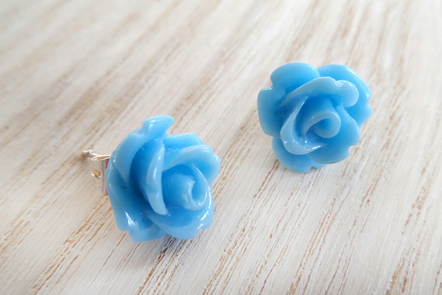 Turquoise rose stud earrings with silver plated posts