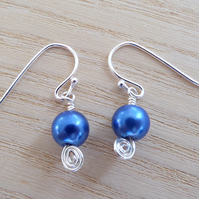 Small blue glass pearl drop earrings