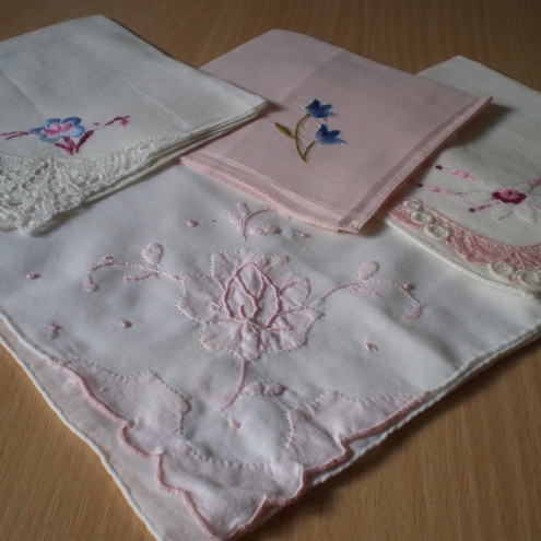 Pink Vintage Handkerchiefs Set of 4