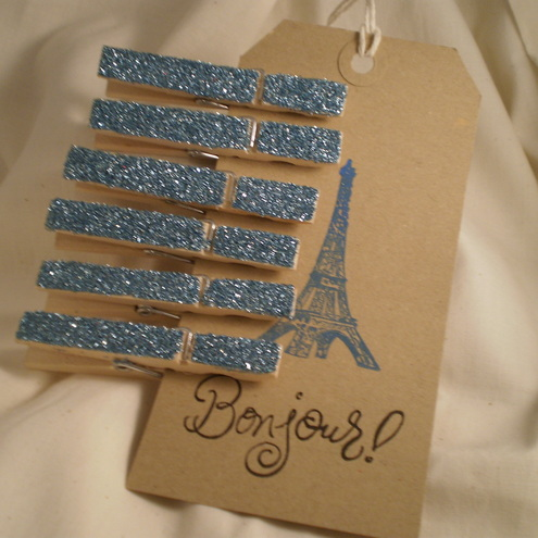 * SALE* Bonjour Shabby Chic Glitter Pegs/Tag