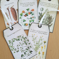 Vintage Style Botanical Quote Tag Set