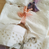 Vintage White Cotton Broderie Anglaise Trim x 3