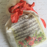 Christmas Music Lavender Muslin Bag