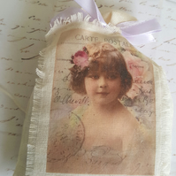 Victorian Child Lavender Muslin Bag