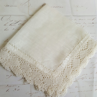 Wedding Antique Handkerchief Silk and Lace