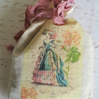 Regency Lady Lavender Muslin Bag