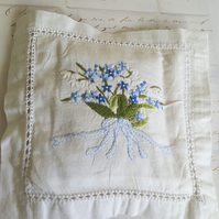 Lavender Sachet Vintage Embroidered