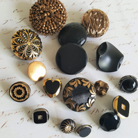 Vintage Buttons Gold and Black Selection