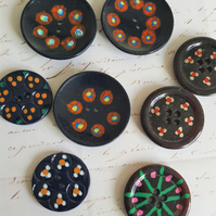 Buttons Vintage Black Hand Painted  Selection