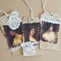 Beautiful Lady Mixed Media Gift Journal Tags x 3