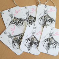 Paris Gift Journal Tag French Fashion x 6