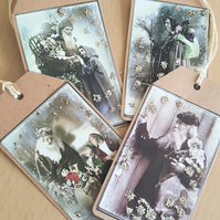 Victorian Style Father Christmas Gift Journal Tags x 4