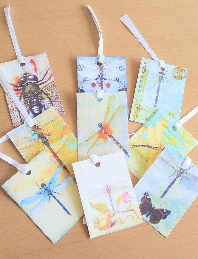 Gift Journal Tags utterfly Dragonfly Entomology x 9