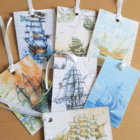 Gift Journal Tags Vintage Nautical Theme  x 7