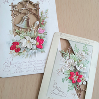 Antique Birthday Cards Unused With Embossed Silk Flowers