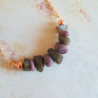 Ruby and Labradorite Bar Gemstone Necklace