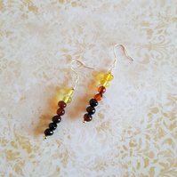 Antique Amber Bead Dangle Earrings