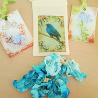Happy Mail Bird Song Muslin Gift Bag Tag and Ribbon