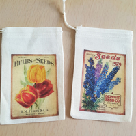 Happy Mail Muslin Gift Bag Garden Flowers and Seeds x 2