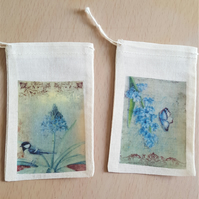 Happy Mail Muslin Gift Bag Butterfly and Bird Garden x 2