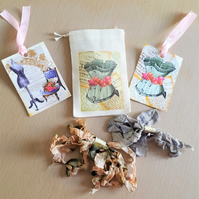 Happy Mail Vintage Corset Gift Bag Tag and Ribbon