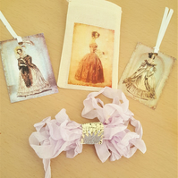 Happy Mail Jane Eyre Style Muslin Gift Bag Sachet Ribbon and Tags