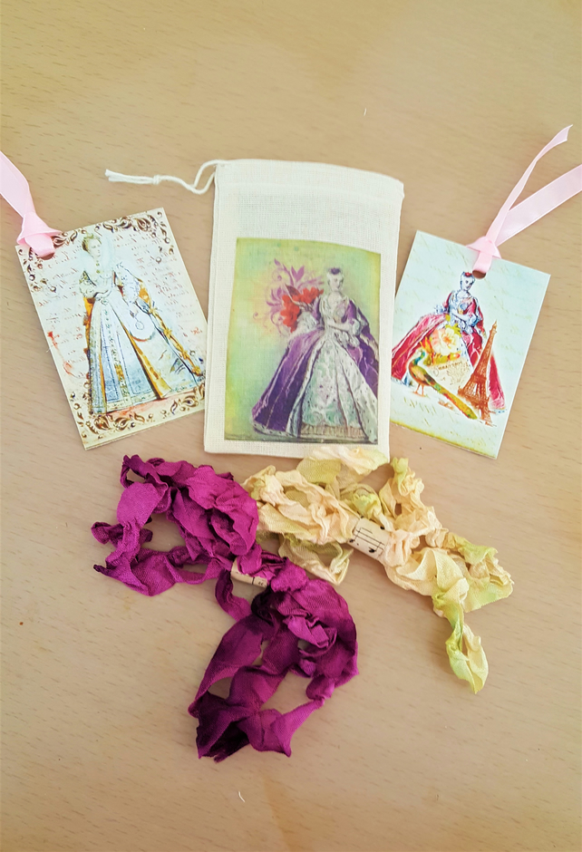 Happy Mail Ladies of the Court Muslin Gift Bag Tag and Ribbon