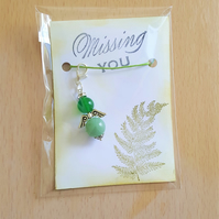Missing You Green Aventurine Guardian Angel Key Ring Bag Charm Happy Mail