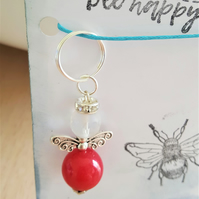 Dont Worry Bee Happy Guardian Angel Key Ring Bag Charm Happy Mail