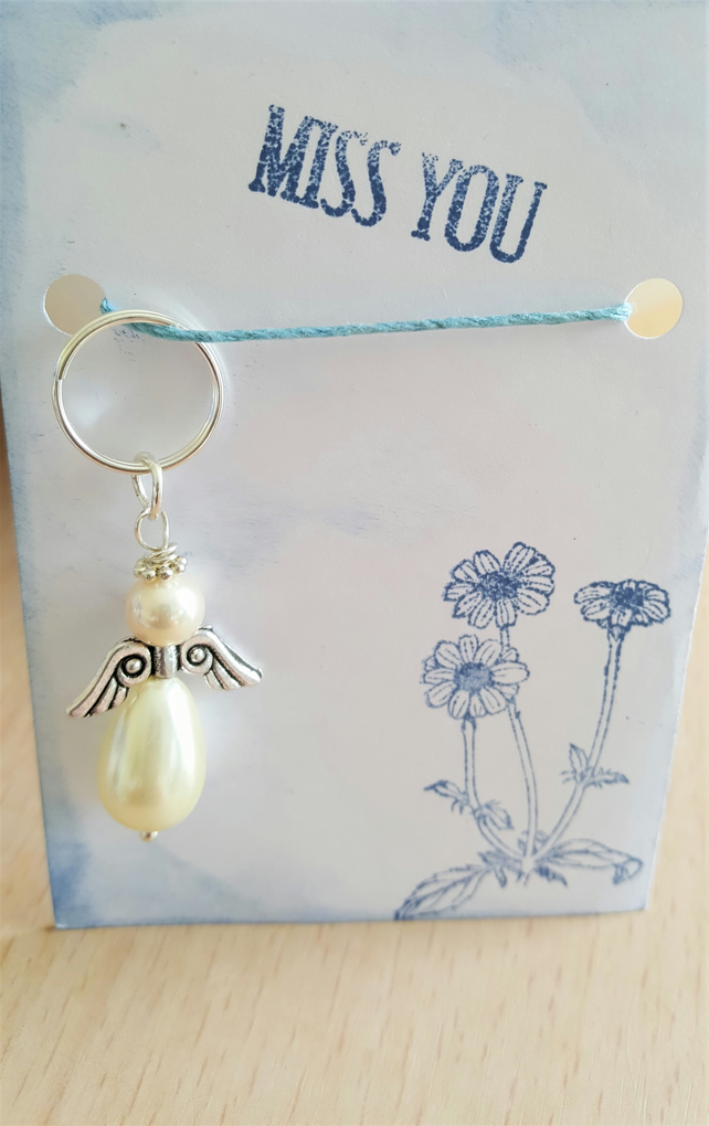 Miss You Pearl Guardian Angel Key Ring Bag Charm Happy Mail