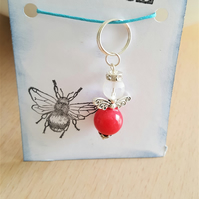 Just Because Red Quartz Guardian Angel Key Ring Bag Charm Happy Mail