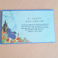 Vintage Tucks Easter Postcard A Happy Eastertide Flower Garden