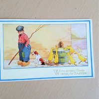 Vintage Easter Postcard  Ducks and Dutch Boy
