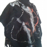 Halloween,  Cob Web Felted Poncho made from natural wool and silk - Size Small