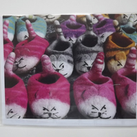 Felted Slippers Photographic Printed Card