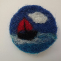Needle Felted Sail Boat Brooch -Made to Order