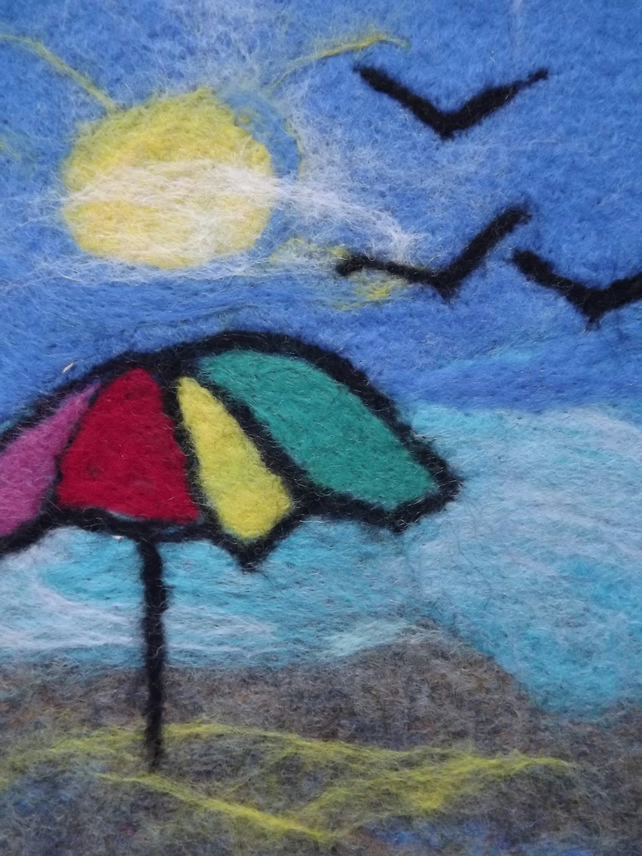 Needle Felted Beach Scene Wool Painting - Made to Order