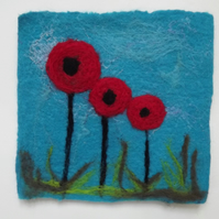 Hand felted poppy coasters - Set of Four