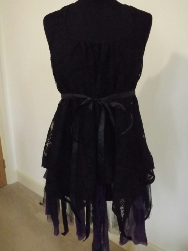 Upcycled and recycled gothic, steam punk style top and skirt