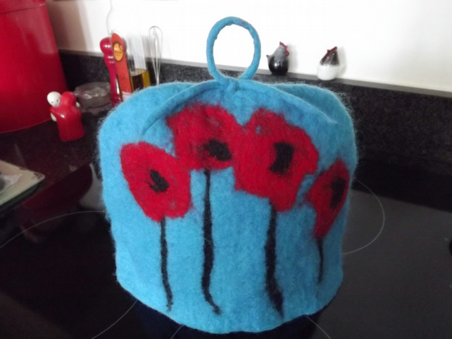 Hand Felted Merino Wool Poppy Design Tea Cosy - Made to Order