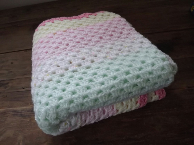 Hand crochet  blanket in pretty pastel shades