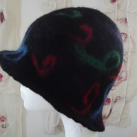 Hand Felted Cloche Hat with spiral design - Made to Order