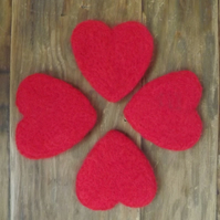 Large, Deep, Needle Felted love token heart, Valentine Heart, Wedding Favour