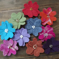 Hand felted and beaded flower wedding favour, embellishments for crafts