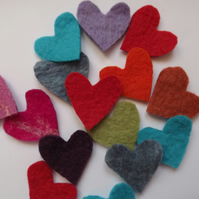Hand felted and cut heart embellishments ideal for crafting.