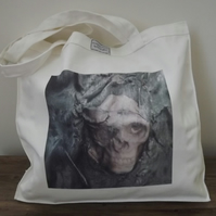 Printed Halloween, Skull, Gothic, Canvas Tote Bag