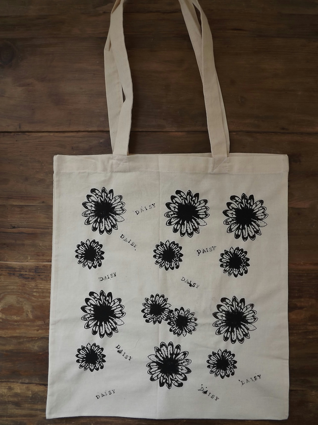 Screen Printed Tote Bag, Long Handles.  Flowers - SALE ITEM