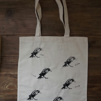 Eco-friendly, reusable, strong, Halloween style,screen printed tote bag - Crows
