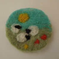 Needle Felted Brooch - Sheep in a Field - Made to Order