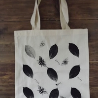 Screen Printed Cotton Tote Bag - Leaves and Bees - SALE ITEM